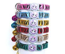 Zebra Print Cat Kitten Collar Break Free Snap Safety Release Bell 6 Colours