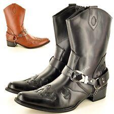 Mens Gents Western Cowboy Ankle Zip Up Black Boots UK Size 7 8 9 10 11 12