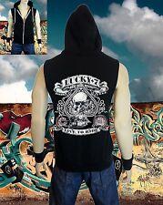 New Men's Lucky 7 Skull Biker Black Vest Tank Zipper Hoodie Gym MMA harley