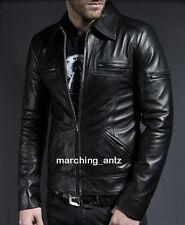 New Leather Jacket Customised Soft Lambskin Motorcycle biker Cafe Racer Vest PKK