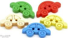 10 PULSANTI AUTO colorato bottoni legno kinderknopf due fori CUCIRE GIOIELLI #