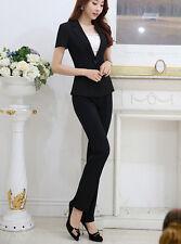 élégant Traje conjunto de mujer negro chaqueta manga corta pantalones 7130