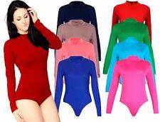 Womens Ladies Polo Turtle Neck Long Sleeve Stretch Leotard Bodysuit Fancy Dress