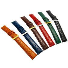 Grano cocodrilo acolchada de color cuero reloj correa de banda 16mm 18mm 20mm 6 Colores!