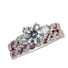 Round Cut 1.50 Ct Diamond Wedding Band Sets 14k White Gold Ring Size J I O N M P