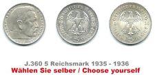 J.360 - 5 Reichsmark 1935 - 1936 A D E F G J  - Bitte auswählen / please select