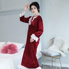 Women Long Sleeve Robe Velvet Pajamas Sleepwear Floral Lace Loose Dress Nightwea