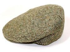 Authentic Harris Tweed Traditional Teflon Coated Brown Herringbone Wool Flat Cap