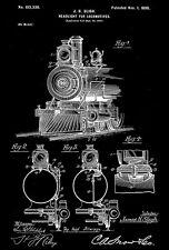 1898 - Headlight for Locomotives - J. H. Sligh - Patent Art Poster
