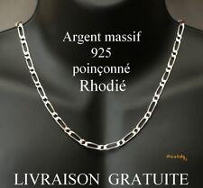 chaine bracelet neuve pour homme argent massif 925 rhodié figaro alterné 1+1 5mm