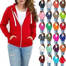 Womens Ladies Solid Zip Hoodies Sweatshirt Fleece Long Sleeve Jacket Hooded Top