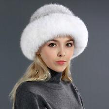 cc0770ef5528 Fashion Winter Women Knitted Real Mink Fur Hat with Fox Fur Brim Beanies Cap