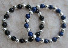 Ladies Men's Lapis Lazuli or Onyx Bead Bracelet with Sterling Silver Spacers.