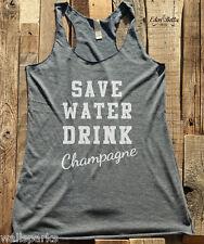 Save Water Drink Champagne tshirt tank tee Soft Tri Blend Racerback Tank