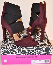 New $425 Diane von Furstenberg Juliesa Prune/Suede Black Elastic Heel Open Toe