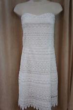 Aqua Dress Sz M Off White Strapless Lace Above Knee Evening Cocktail Dress