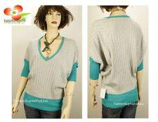 Uniquism Green Gray V-Neck Dolman Batwing Knit Golf Sport Sweater Top S M L XL