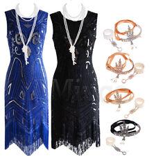 1920's Dresses Gatsby Charleston Sequin Beaded Dress Flapper Fringe 20's Costume