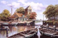 Reint Withaar: Dutch harbour Keilrahmen-Bild ländlich Hafen Boote Idylle
