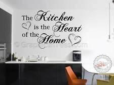 Autocollant mural cuisine citation, cuisine est au cœur de la maison, famille Wall Sticker citation