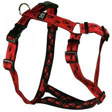 Feltmann Brustgeschirr -Hundegeschirr - Rot, Schwarze Pfötchen, 7 Größen -SOFORT