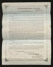 Musique maçonnique 1891 Bateman handbill po annulée par faveur Aberdeen?