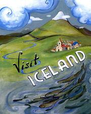 Visit Iceland Nordic Island Nation Travel Tourism 16X20 Vintage Poster FREE S/H