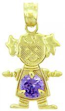 Fine Yellow Gold February Birthstone Amethyst Round CZ Baby Girl Charm Pendant