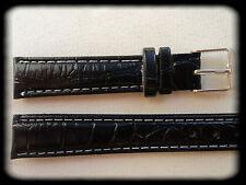 BRACELET MONTRE SIMILI CUIR 14mm NOIR /* BOUCLE ARGENTÉE /* REF/CEC13