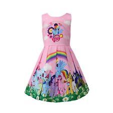 Girls Skater Dress Kids My Little Pony Rainbow  Party Birthday Dresses B13