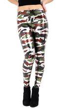 Para Mujeres Damas Metálico líquido Multicolor Leggings Estampado De Camuflaje