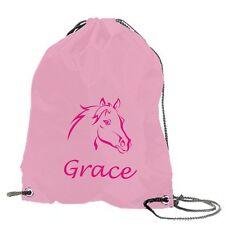 Personalised Swimming Bag School Gym Pump Pony Horse Motif Girls Pink