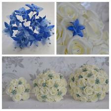 Wedding bouquet posy flowers Royal Blue babys breath bridesmaid bride buttonhole