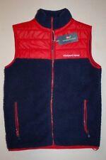 New Vineyard Vines Men Sherpa Full-Zip Vest XS S M Deep Bay Navy Blue Red $165