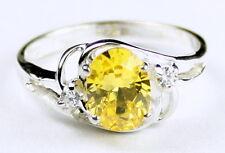 • SR176, Golden Yellow CZ, 925 Sterling Silver Ladies Ring -Handmade