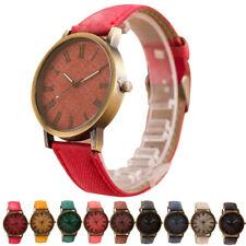 Schlichte Herren Damen Armbanduhr Uhr Cowboy Leder Jeans Römische Ziffern