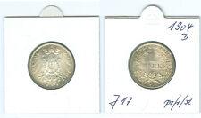 Kaiserreich 1 Mark 1904 D  prägefrisch bis stempelglanz