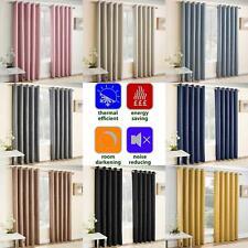 Blockout Eyelet Curtains Vogue Energy Saving Thermal Ring Top Curtain Pairs