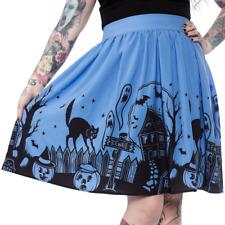 Sourpuss Haunted House Blue Punk Emo Goth Rockabilly Adult Womens Skirt SPSK69