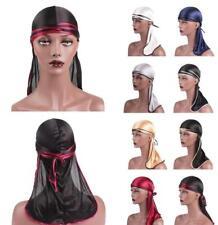 Satin Men Stretchy Cap Hip Hop Du Doo Rag Durag Long Tie Down Tail Hat Headwrap