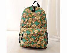 New Retro British Flowers Ladies Canvas Bag Backpack Rucksack School Bag bag25