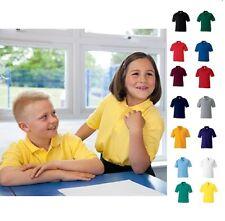 Kids Boys Girls Childrens School Uniforms Polo Shirt Plain Polycotton Polo Shirt
