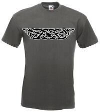 DRAGON TRIBAL Print T-shirt, grafite