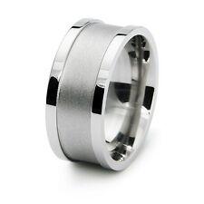 Stainless Steel Biker Engravable Mens Wedding Ring 10MM