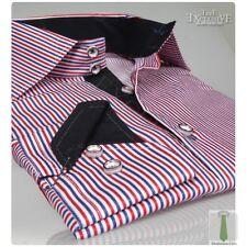 Nuevo Diseño Italiano Rojo, Blanco & Azul Camisa de rayas / Negro Cuello
