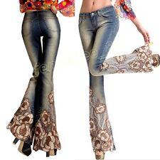 Women Ethnic Beaded Embroidery Denim Slim Bell-bottom Pants Jeans Flared Trouser