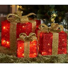 Light Up Gift Boxes Presents Set of 3 Christmas Glitter LED Indoor Decoration UK