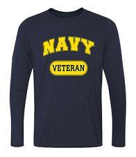 Military USN US Navy Veteran T-shirt Performance PT Long Sleeve Shirt Blue