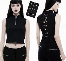 Crop top haut court zippé gothique punk lolita corset dos nu laçage zip PunkRave
