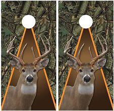 Whitetail Buck Deer Hunting Camouflage Oak Ambush Cornhole Board Decal Wraps